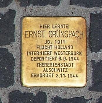 Photo of Ernst Grünspach brass plaque