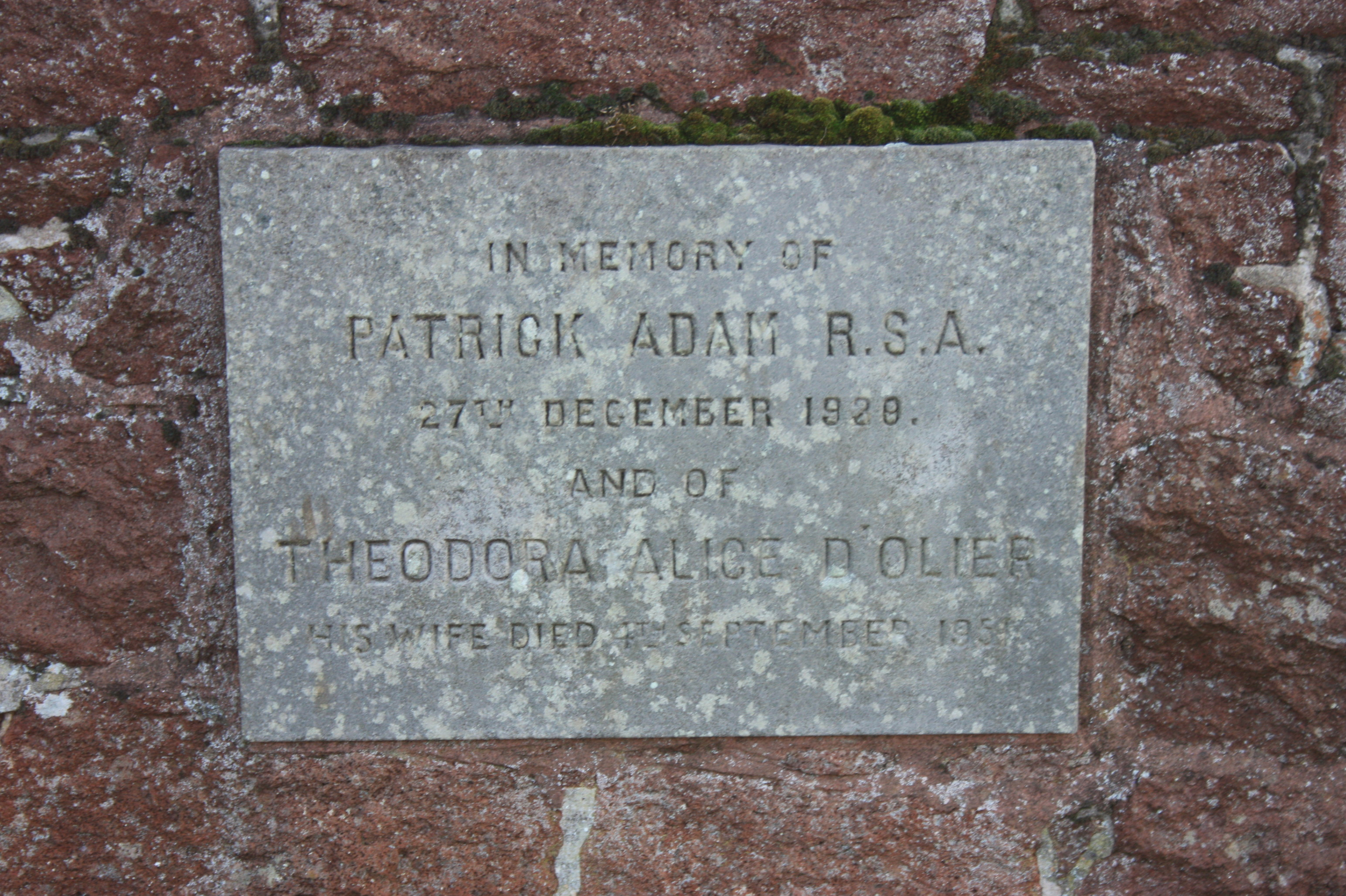 The grave of Patrick Adam RSA, North Berwick Cemetery