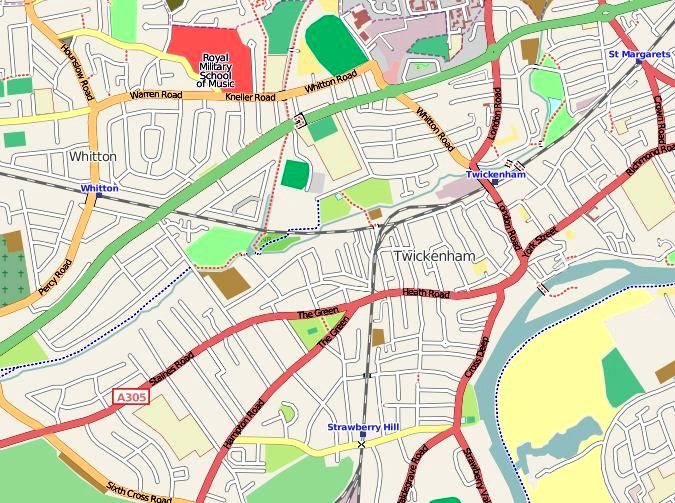 A map of most of the town of Twickenham.