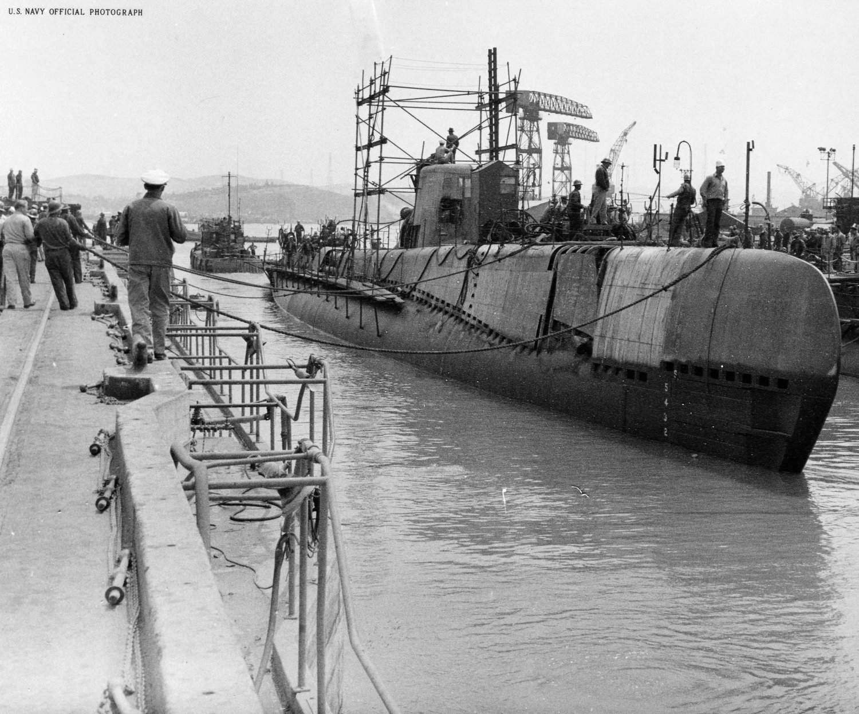 Tiru (SS-416) is seen leaving dry dock at Mare Island Naval Shipyard in August 1948.