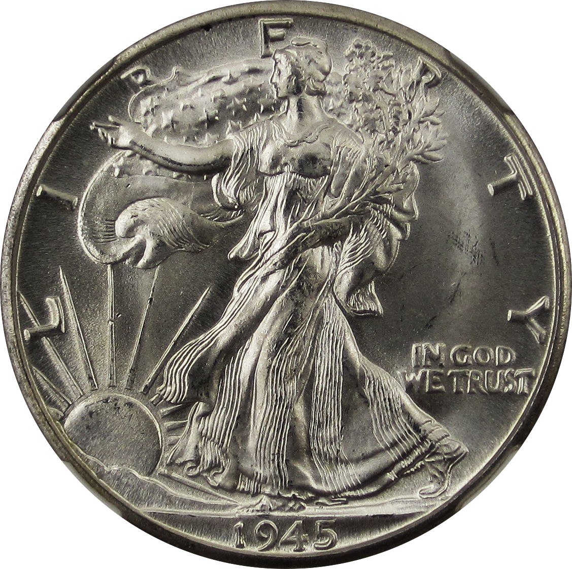 File Walking Liberty Half Dollar 1945d Obverse Png