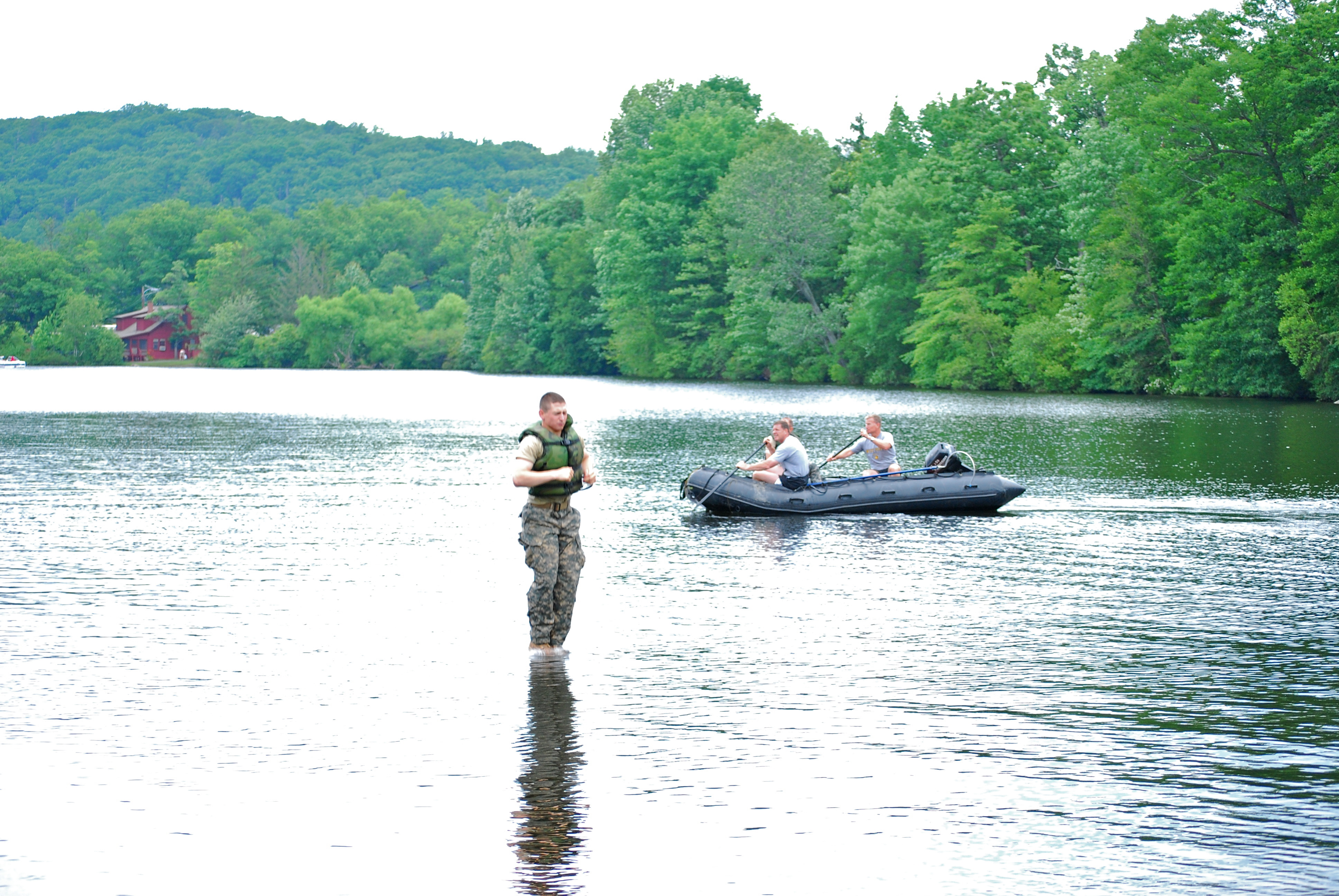File west point cadet walking on water upon lake popolopen for West point lake fishing