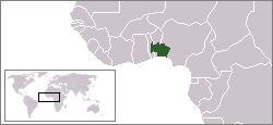 Yorubaland (green) indicated within Nigeria, Benin and Togo.