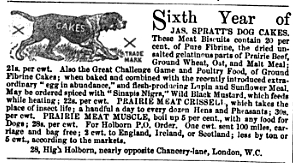 English: 1867 ad for Spratt's Dog Biscuit, pro...