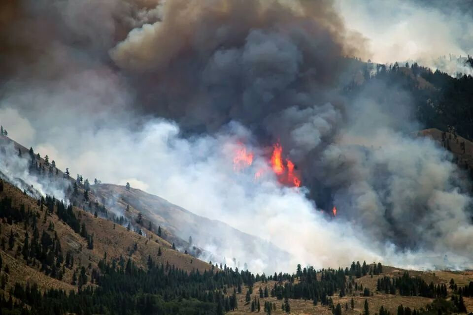 The Carlton Complex wildfire burning in north-central Washington state, USA.