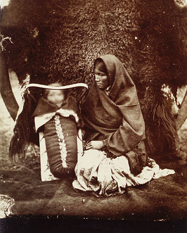 An Ojibwa woman and child, Red River Settlement, Manitoba, 1895