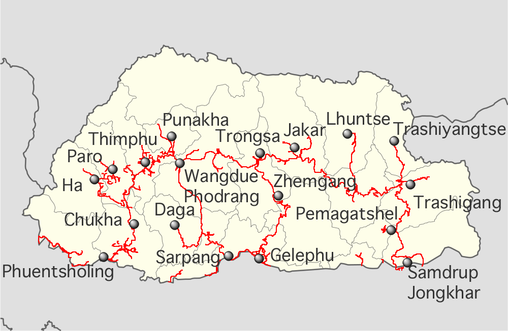 FileBhutan highways labeled location mappng Wikimedia Commons