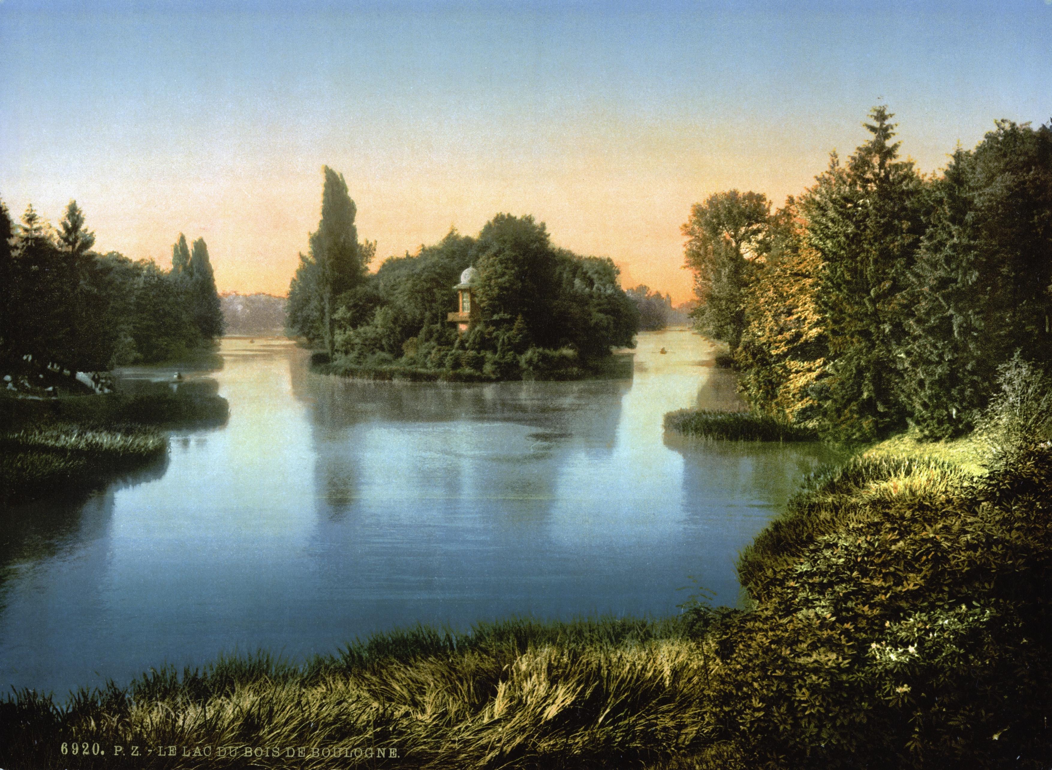 file bois du boulogne the lake paris france ca 1890. Black Bedroom Furniture Sets. Home Design Ideas