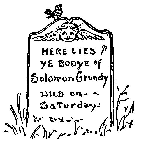 An image of a tombstone for the fictional character, Solomon Grundy.