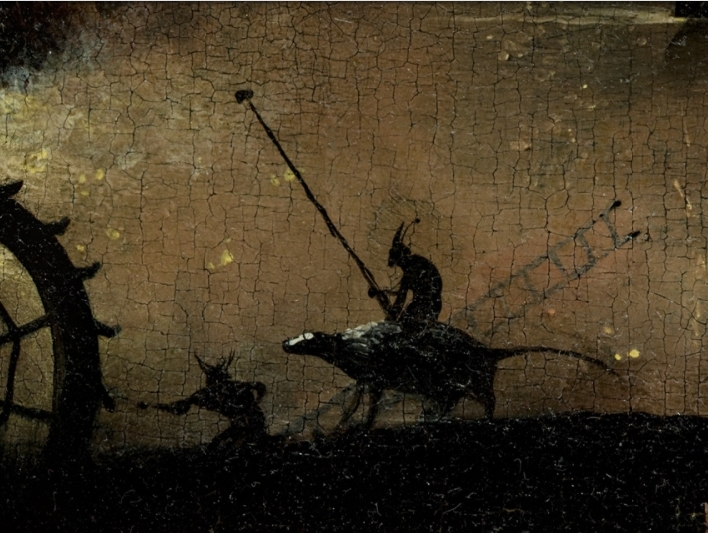 Bosch, Hieronymus - The Garden of Earthly Delights, right panel - Detail Monster riding a creature left