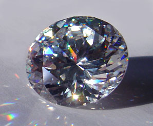 A round brilliant-cut cubic zirconia