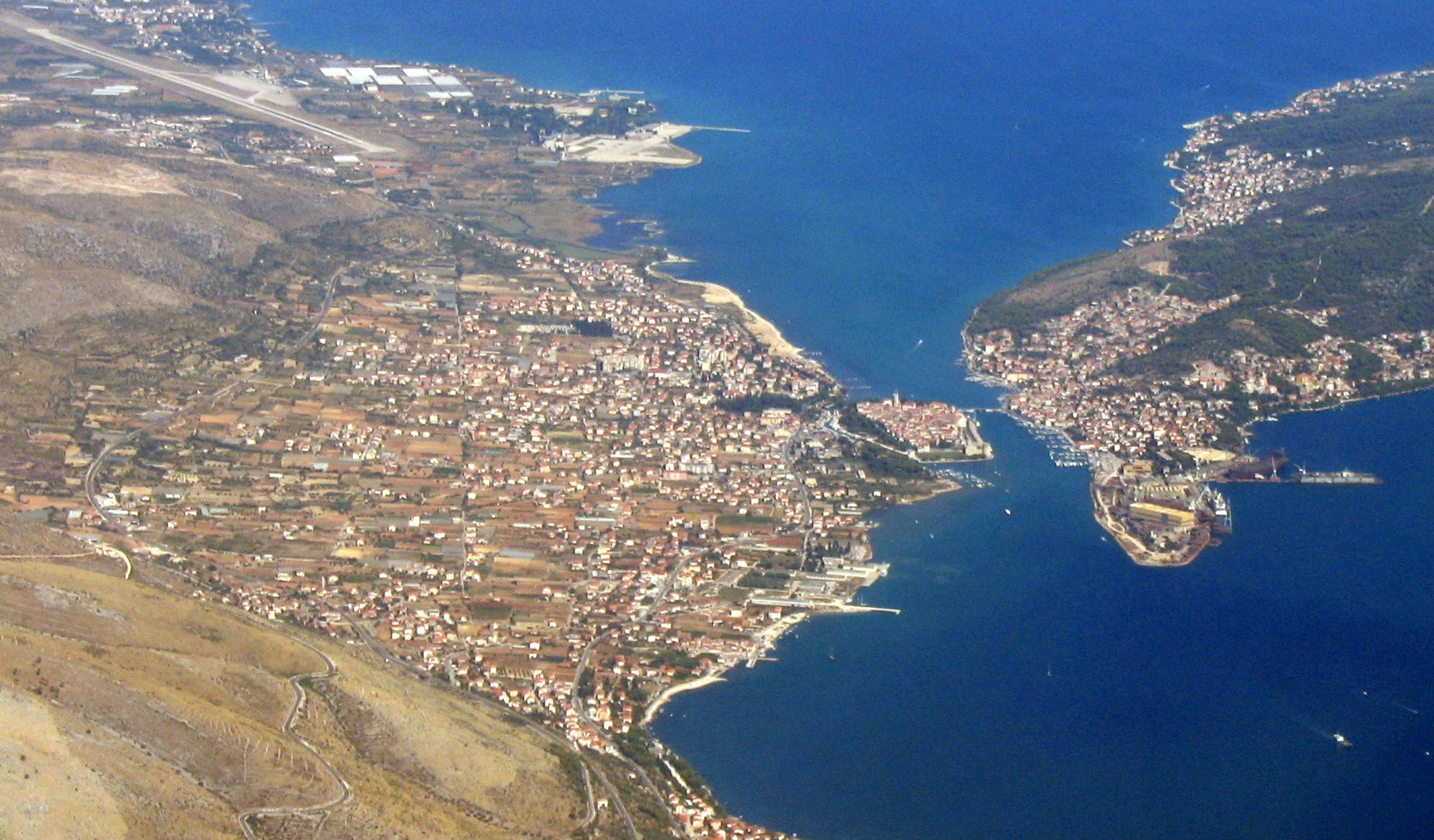 Trogir Croatia  city photo : Description Croatia Trogir Aerial Photo 1