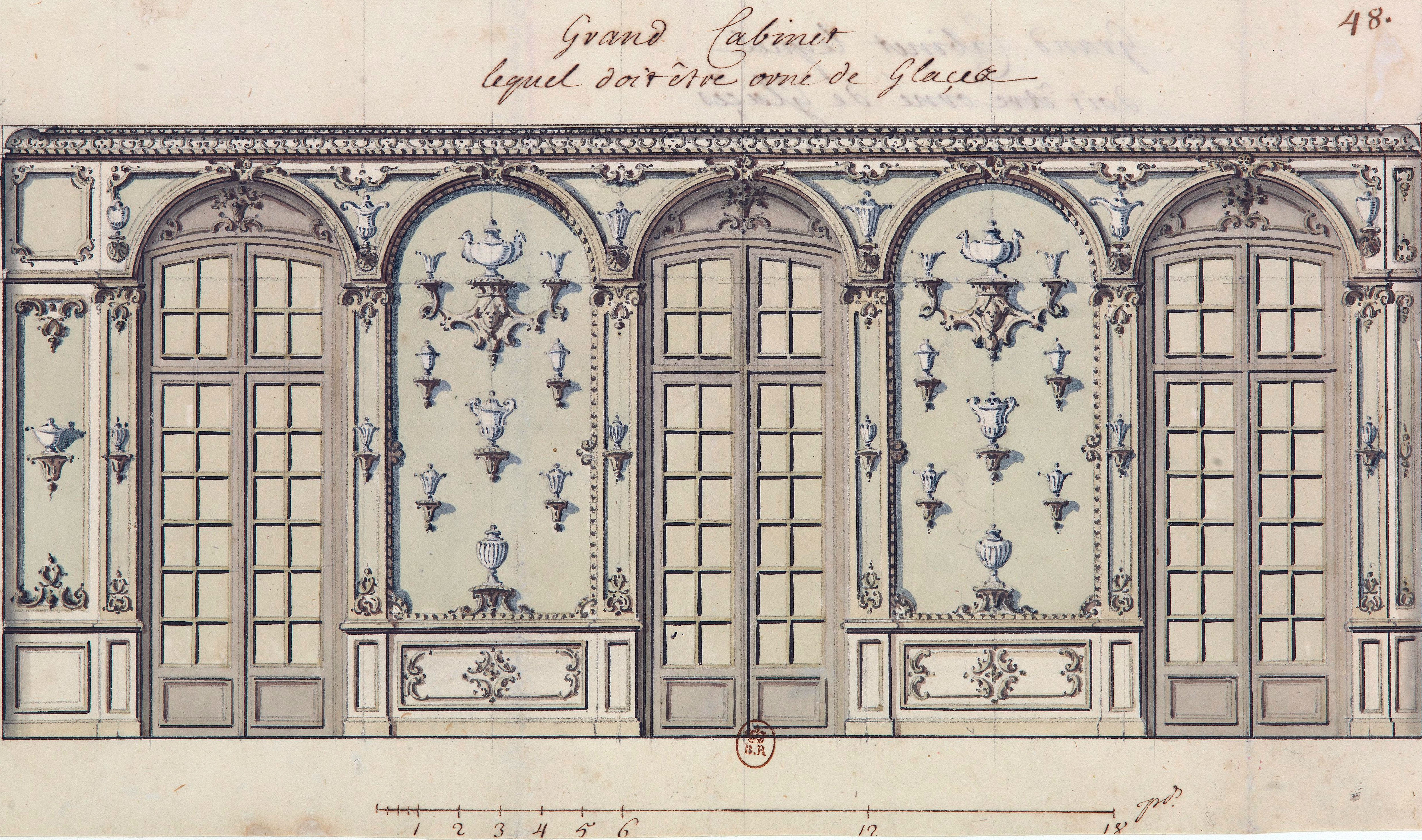 Design Bonn file design for the grand cabinet with decorated mirrors at the bonn