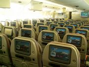 Section of lower deck on Emirates' A380 aircra...