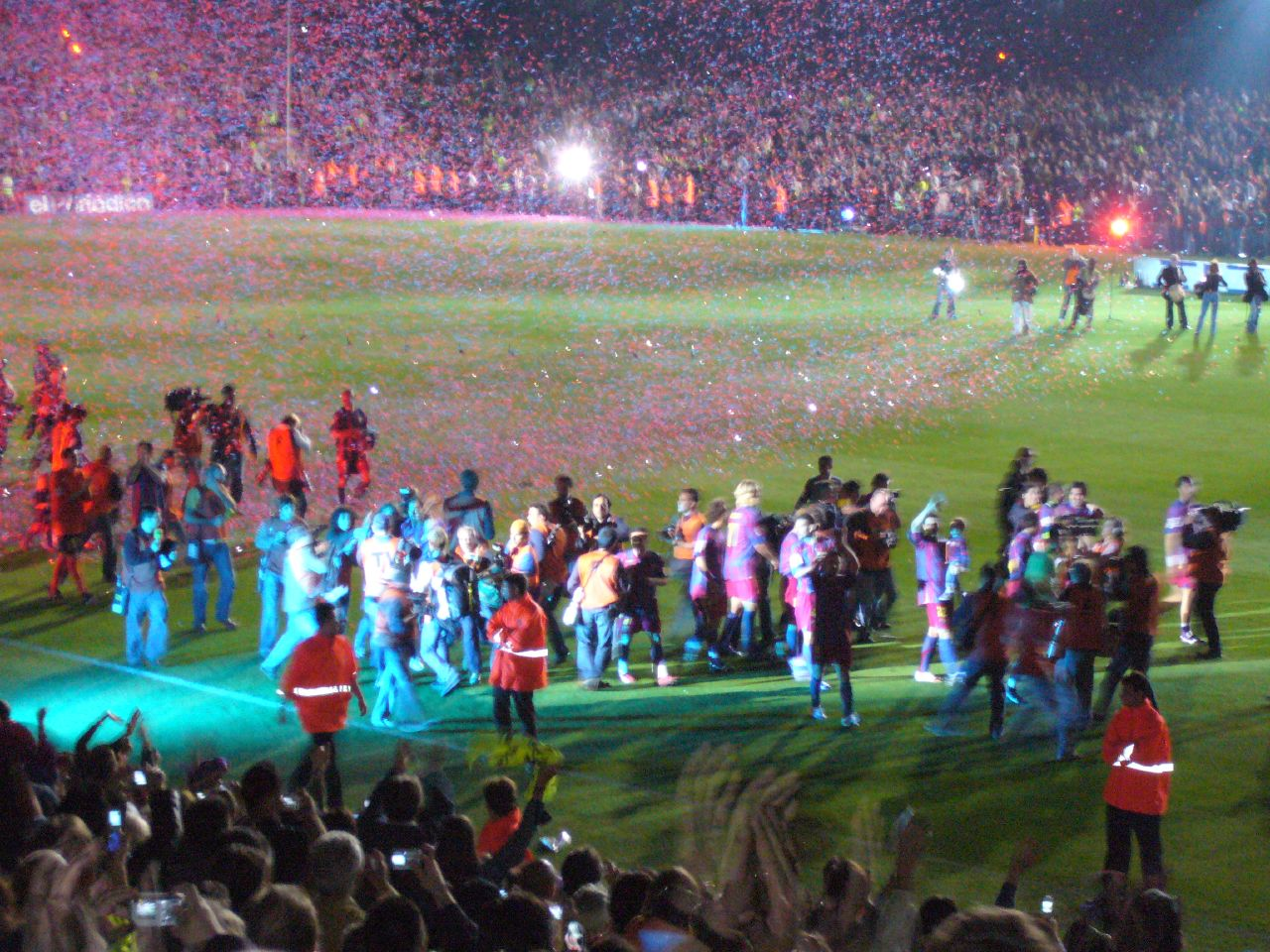 Barcelona players parade La Liga trophy around the Camp Nou in May 2006  after defeating Espanyol in their last home game of the season. 0f0645ef04e