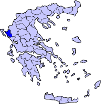 Location of Thesprotia Prefecture in Greece