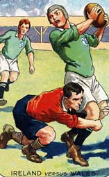 A painting of an Ireland player being tackled around the legs by a Welshman.