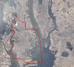 Image of Jersey City taken by NASA (red line demarcates the municipal boundaries of Jersey City)