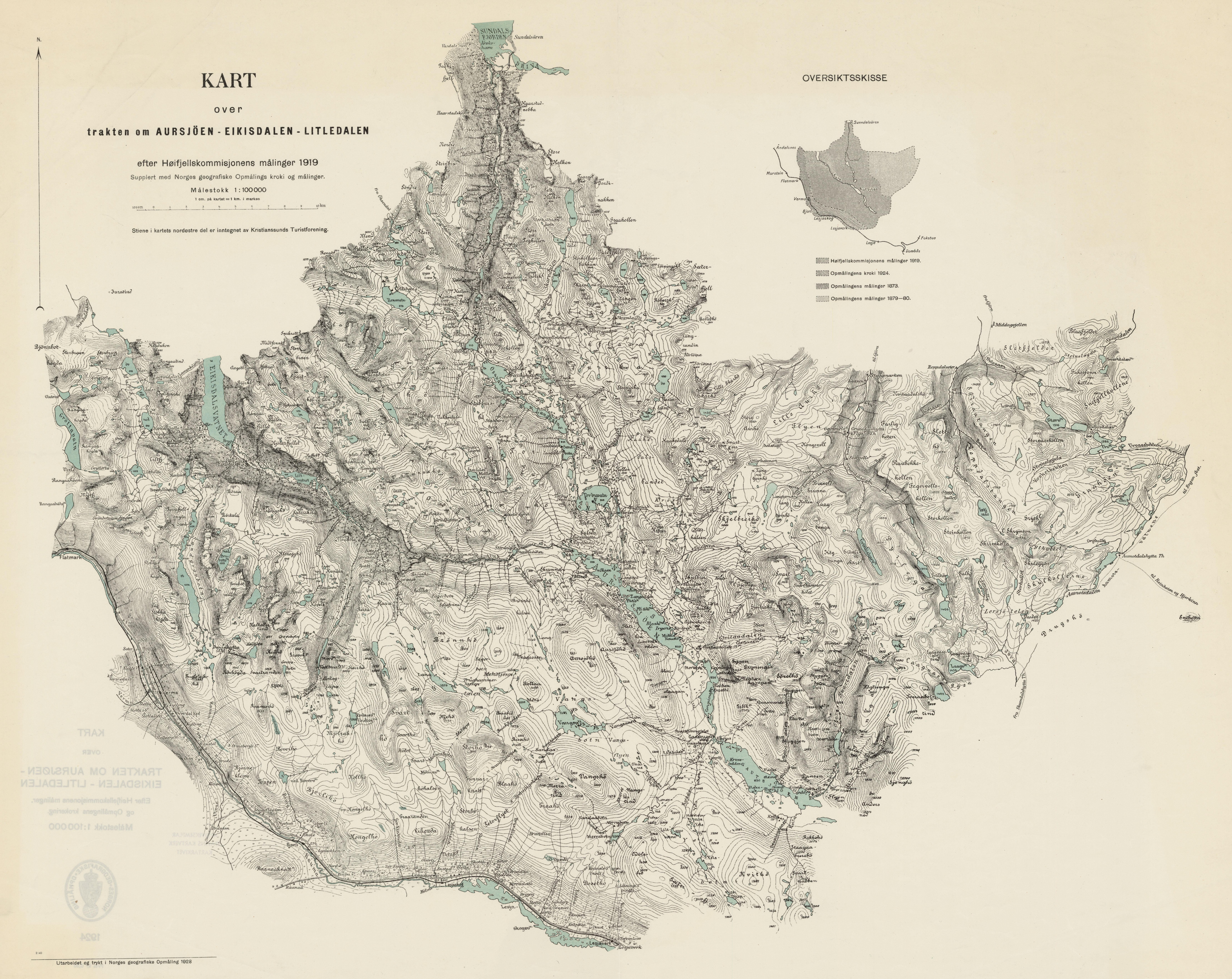 aursjøen kart File:Kart over trakten om Aursjöen   Eikisdalen   Litledalen  aursjøen kart