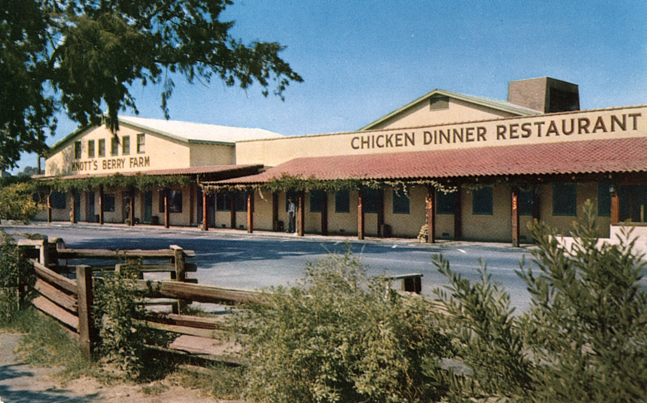 Mrs. Knottu0027s Chicken Dinner Restaurant at Knottu0027s Berry Farm in Orange County, California, ca. 1955.