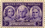 U.S. postage stamp commemorating the Seneca Falls Convention; left to right: Elizabeth Cady Stanton, Carrie Chapman Catt, Lucretia Mott