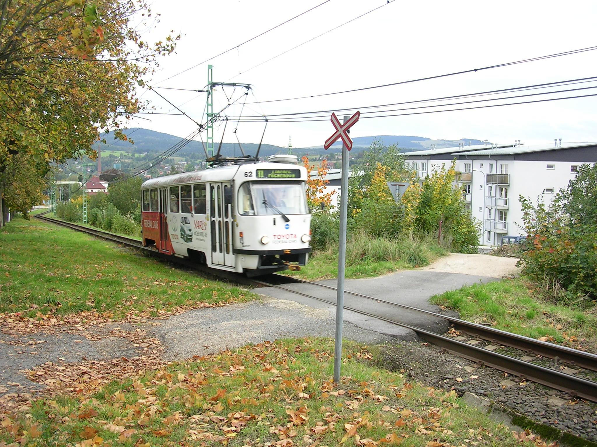 Liberec, ÚSP, přejezd s tramvají.jpg