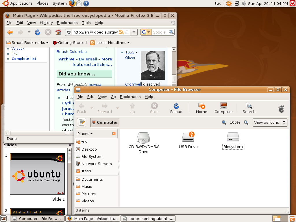 A live USB of Ubuntu, running Firefox, OpenOffice.org and the Nautilus file manager.