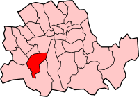 Metropolitan Borough of Battersea shown within the County of London