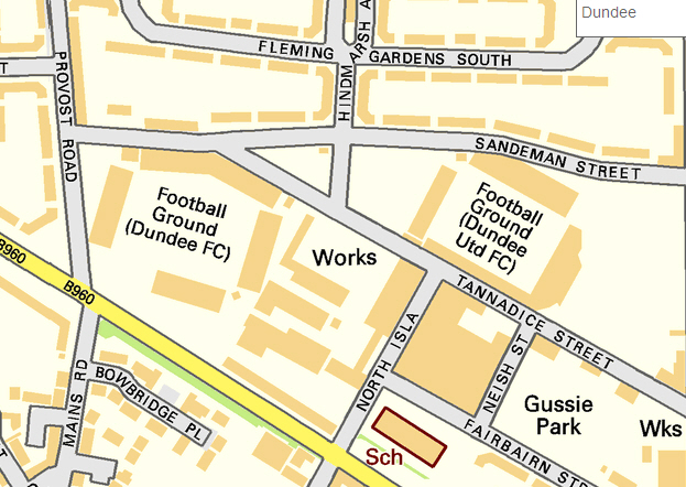 Datei:Map of Dens Park and Tannadice Park, Dundee, Scotland, October on