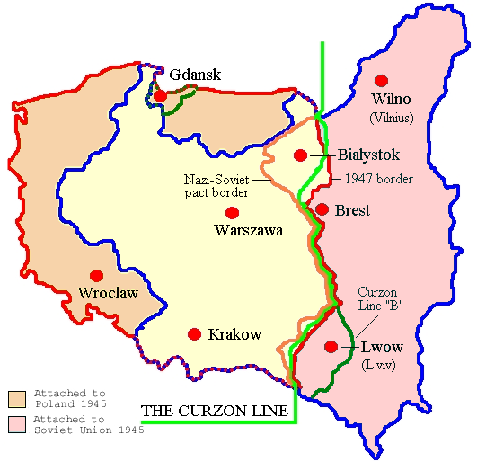 The legacy of World War II: Poland's old and new borders Map of Poland (1945) corr.png