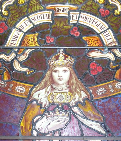 Glassmaleri av Margaret, «Maid of Norway», som i kort tid var regjerende dronning av Skottland