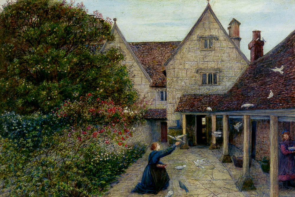 Marie Spartali Stillman - Feeding The Doves At Kelmscott Manor, Oxfordshire.jpg