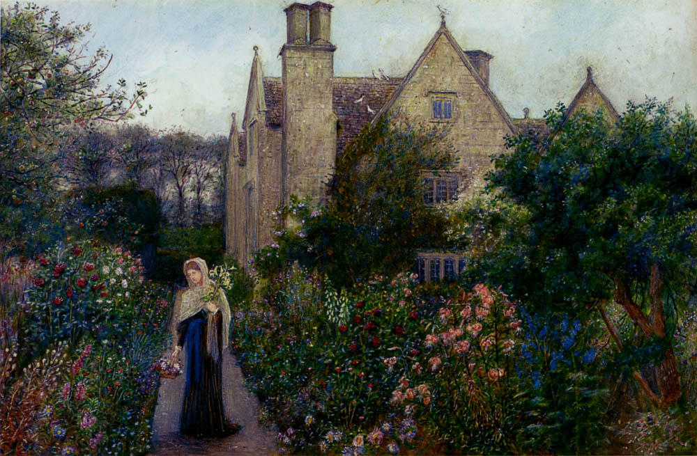 Marie Spartali Stillman - The Long Walk At Kelmscott Manor, Oxfordshire.jpg