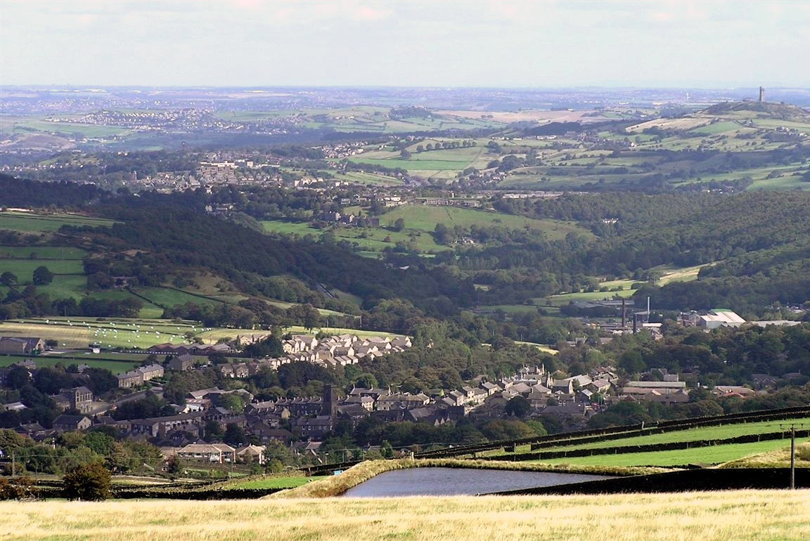 Lower end of the Holme Valley, looking north from Meltham across Netherton and Crosland Moor to Huddersfield and beyond towards Dewsbury Meltham & Lower Holme Valley.JPG