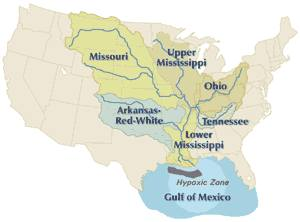 The Mississippi River drains the largest area of any U.S. river, much of it agricultural regions. Agricultural runoff and other water pollution that flows to the outlet is the cause of the hypoxic, or dead zone in the Gulf of Mexico. Mississippi River basin.jpg