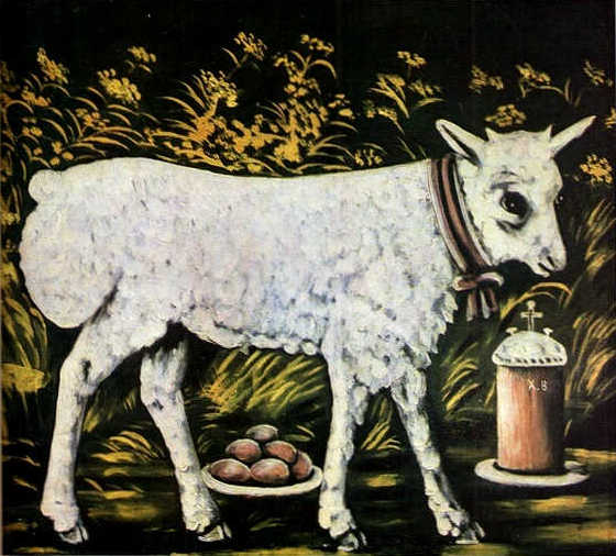 Niko Pirosmani. ''God's Lamb''. Oil on oil-cloth, 55x61 cm. The State Museum of Fine Arts of Georgia, Tbilisi.jpg