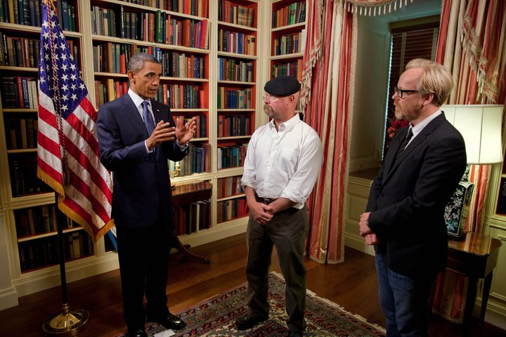 President Obama discussing his appearance on the upcoming episode of Mythbusters with co-hosts Jamie Hyneman and Adam Sawage