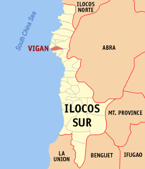 Map of Ilocos Sur showing the location of Viga...