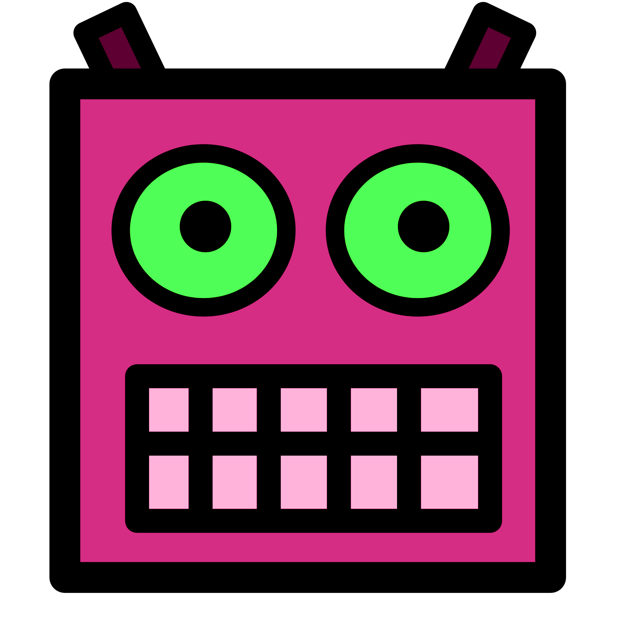 File Pink Or Plum Robot Face With Green Eyes Png Wikimedia Commons