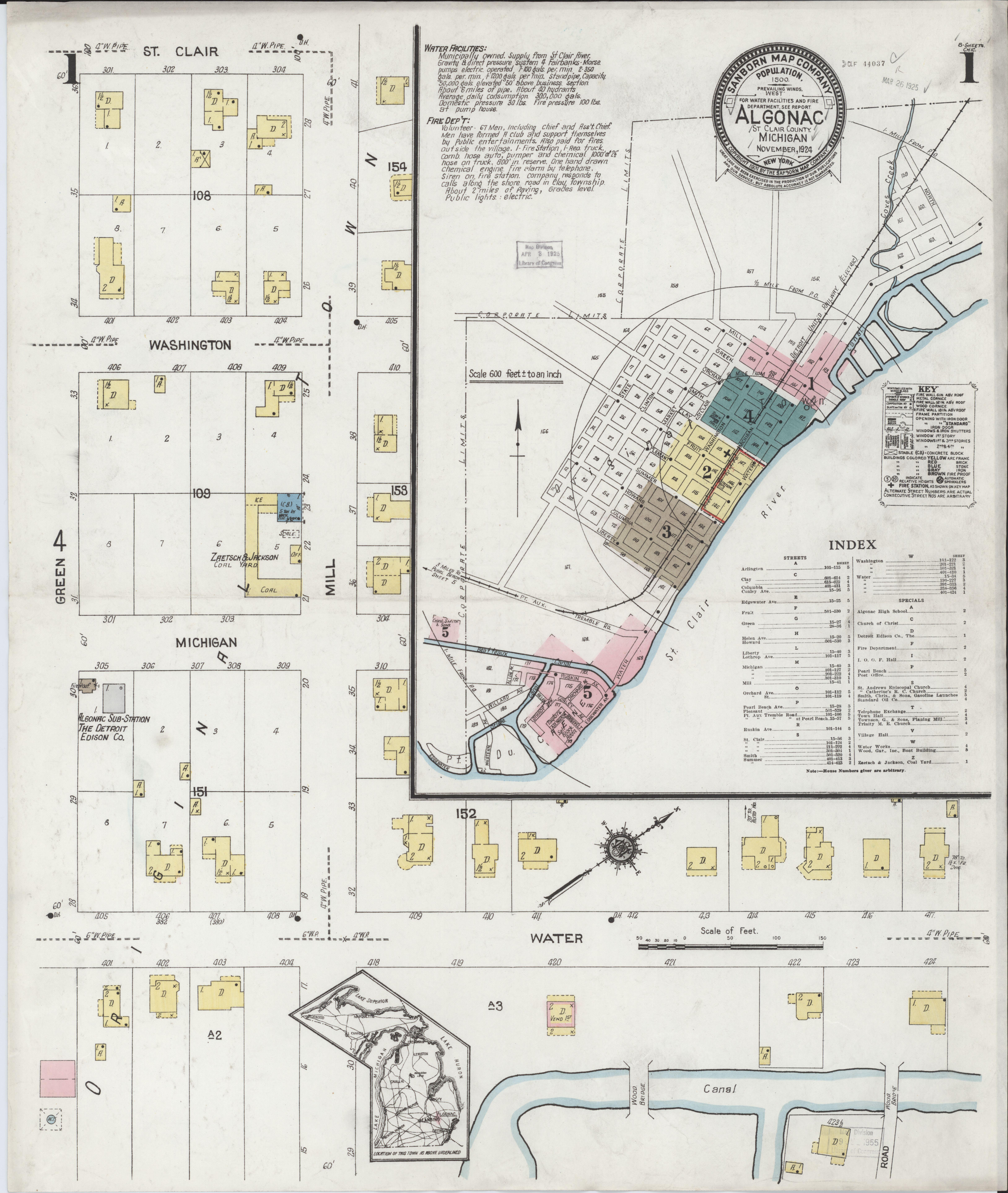 Algonac Michigan Map.File Sanborn Fire Insurance Map From Algonac Saint Clair County
