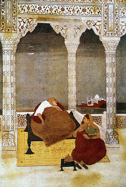 The Passing of Shah Jahan beside his daughter and caretaker Princess Jahanara. Painting by Abanindranath Tagore, 1902 The Passing of Shah Jahan.jpg