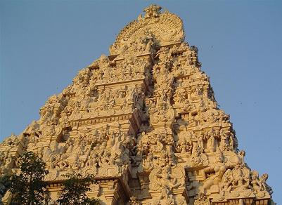 Kamakshi Amman temple with gold overlays at Kanchipuram near Chennai