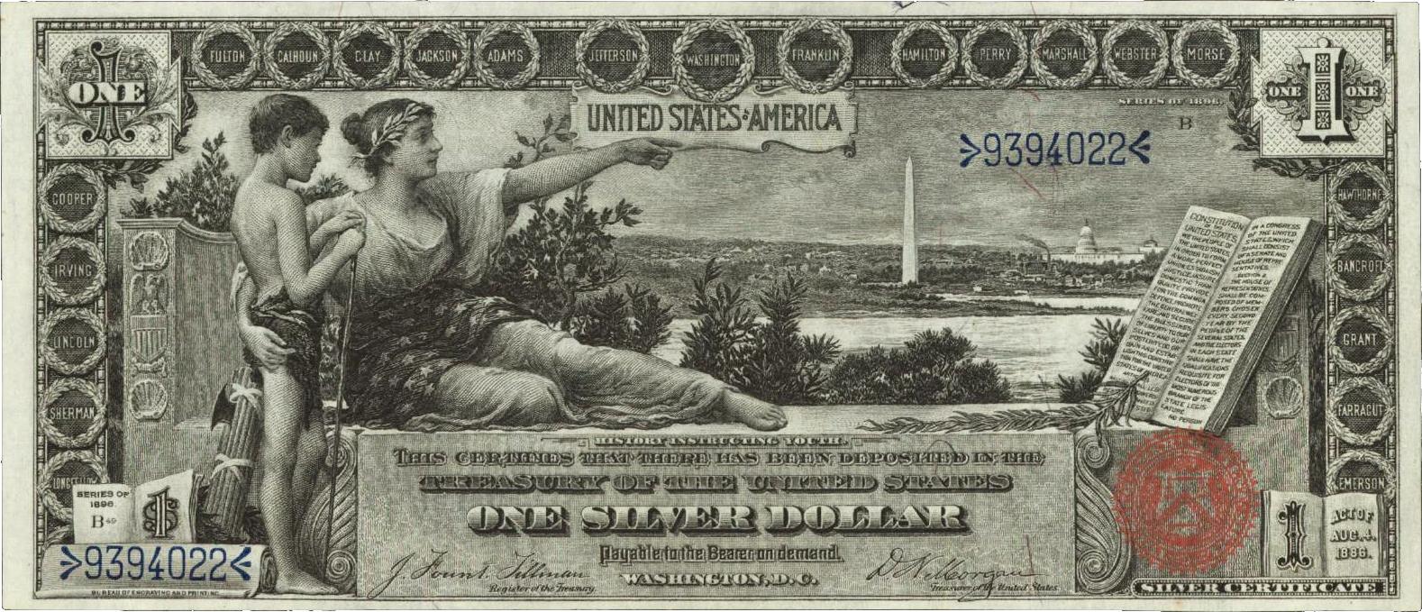 File Us 1 1896 Silver Certificate Jpg Wikimedia Commons