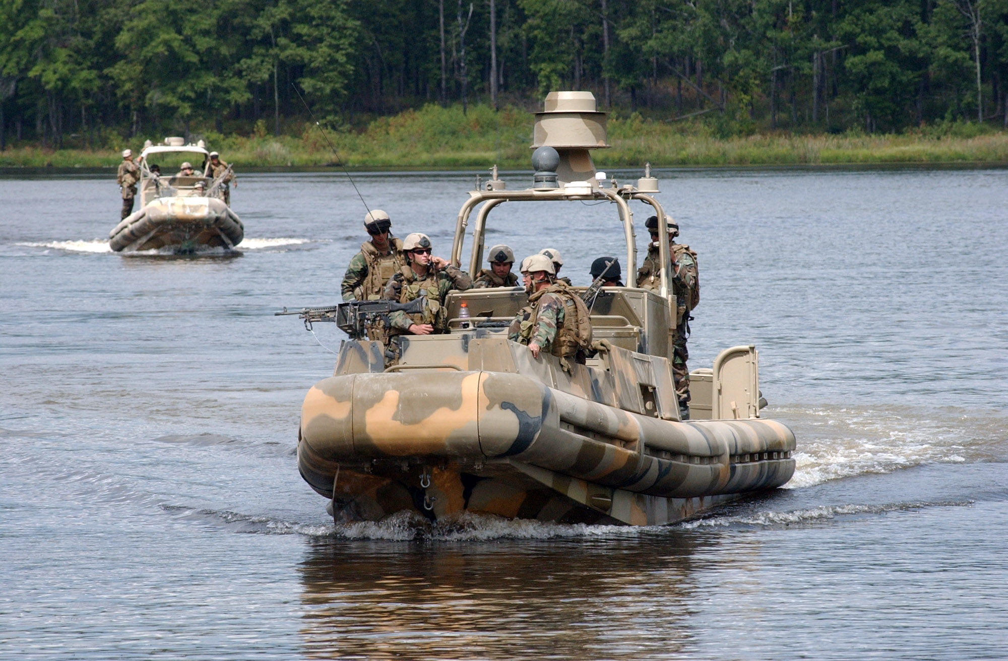 Navy River Patrol Boats http://commons.wikimedia.org/wiki/File:US_Navy_070909-N-9936B-024_A_pair_of_riverine_patrol_boats,_assigned_to_Riverine_Squadron_(RIVERON)_2,_move_across_the_waterborne_range_at_Fort_Pickett.jpg