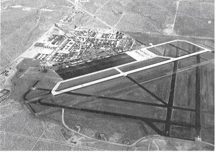 Oblique aerial photo of Victorville Army Air Field, looking southeast - August 1943. - George Air Force Base