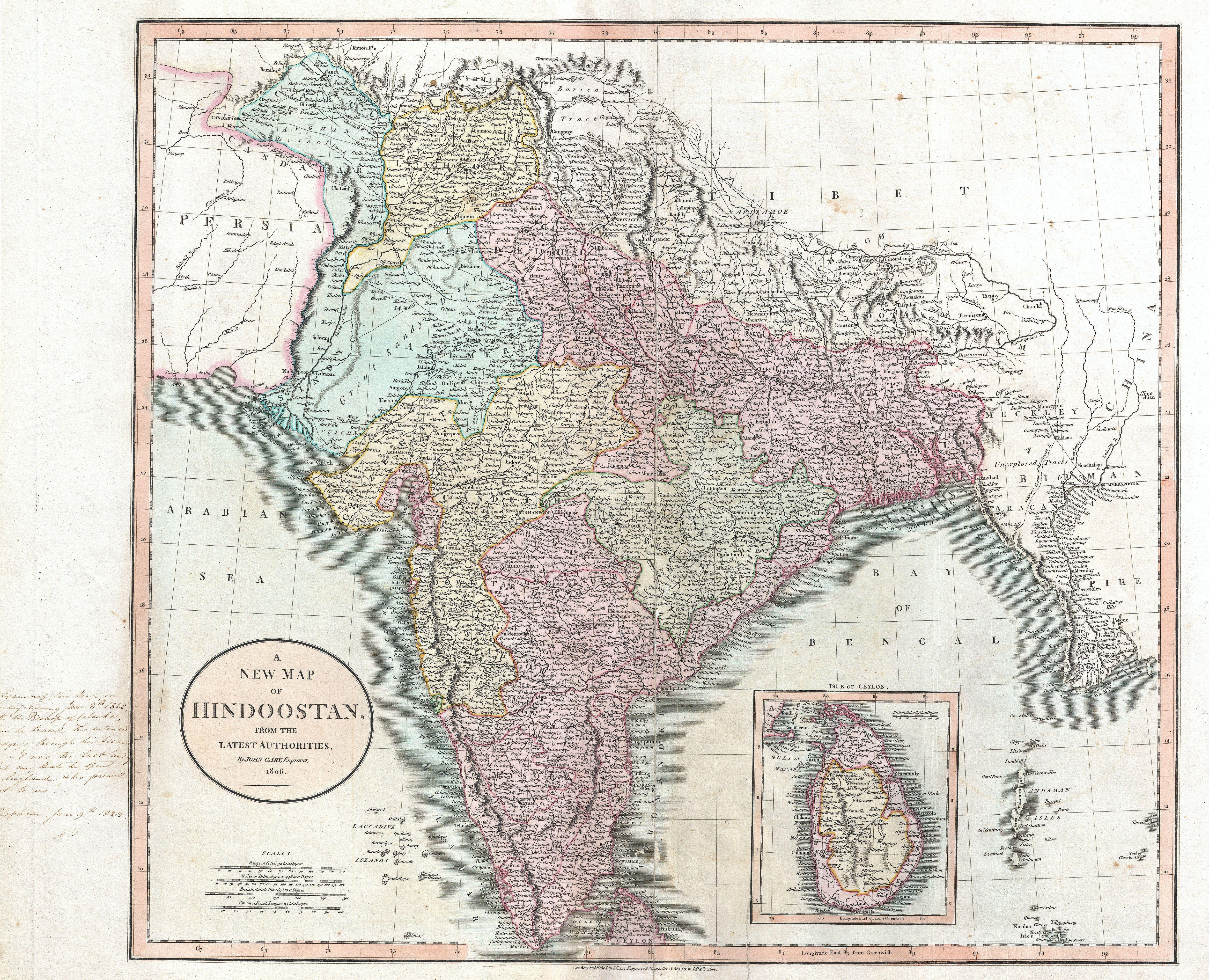 File Cary Map Of India Or Hindoostan Geographicus India - Map of us 1806