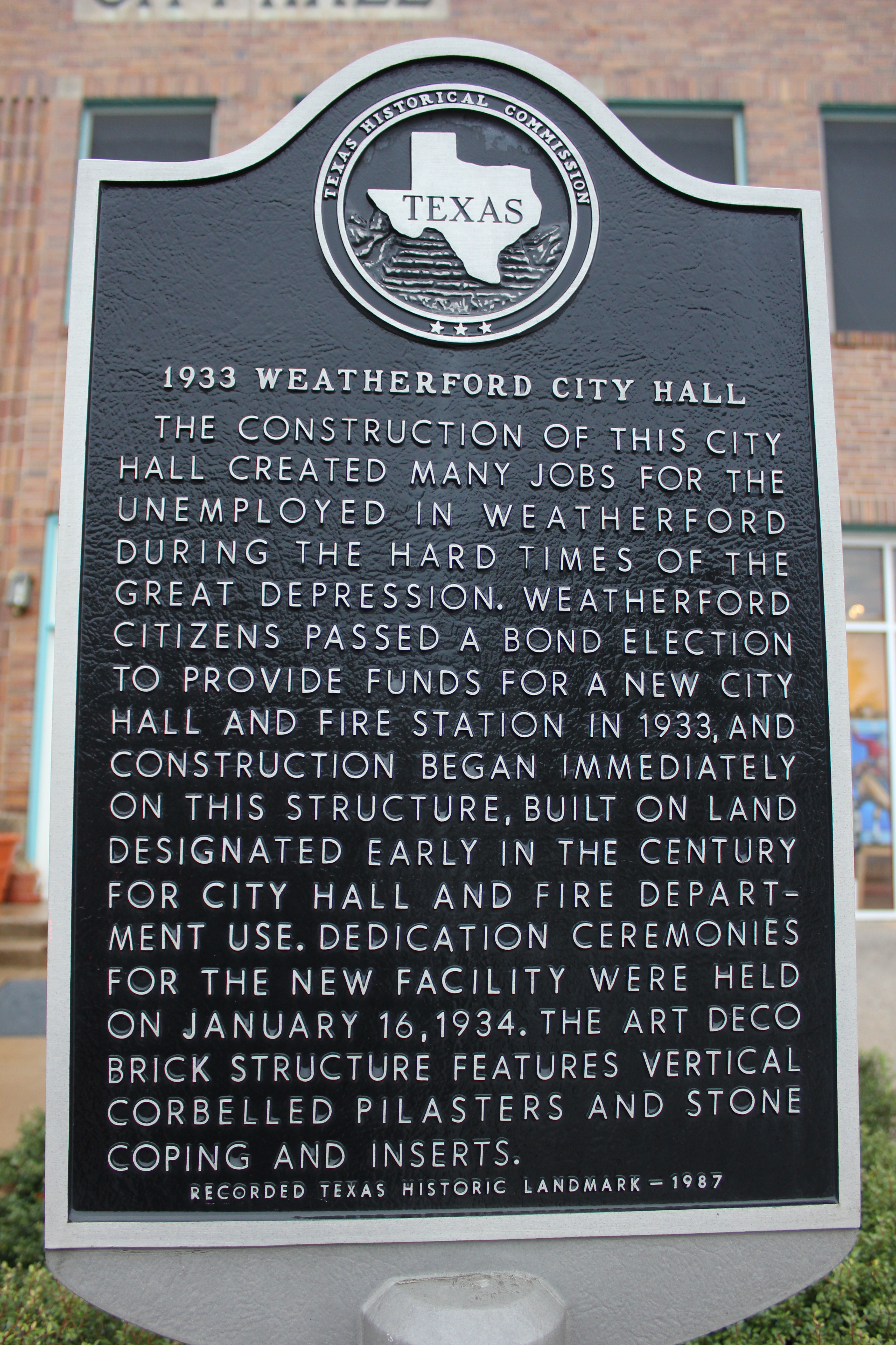 File 1933 City Hall Weatherford Texas Historical Marker