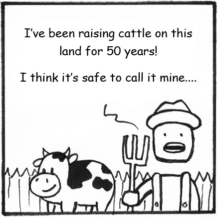A black-and-white cartoon of a rancher and a cow