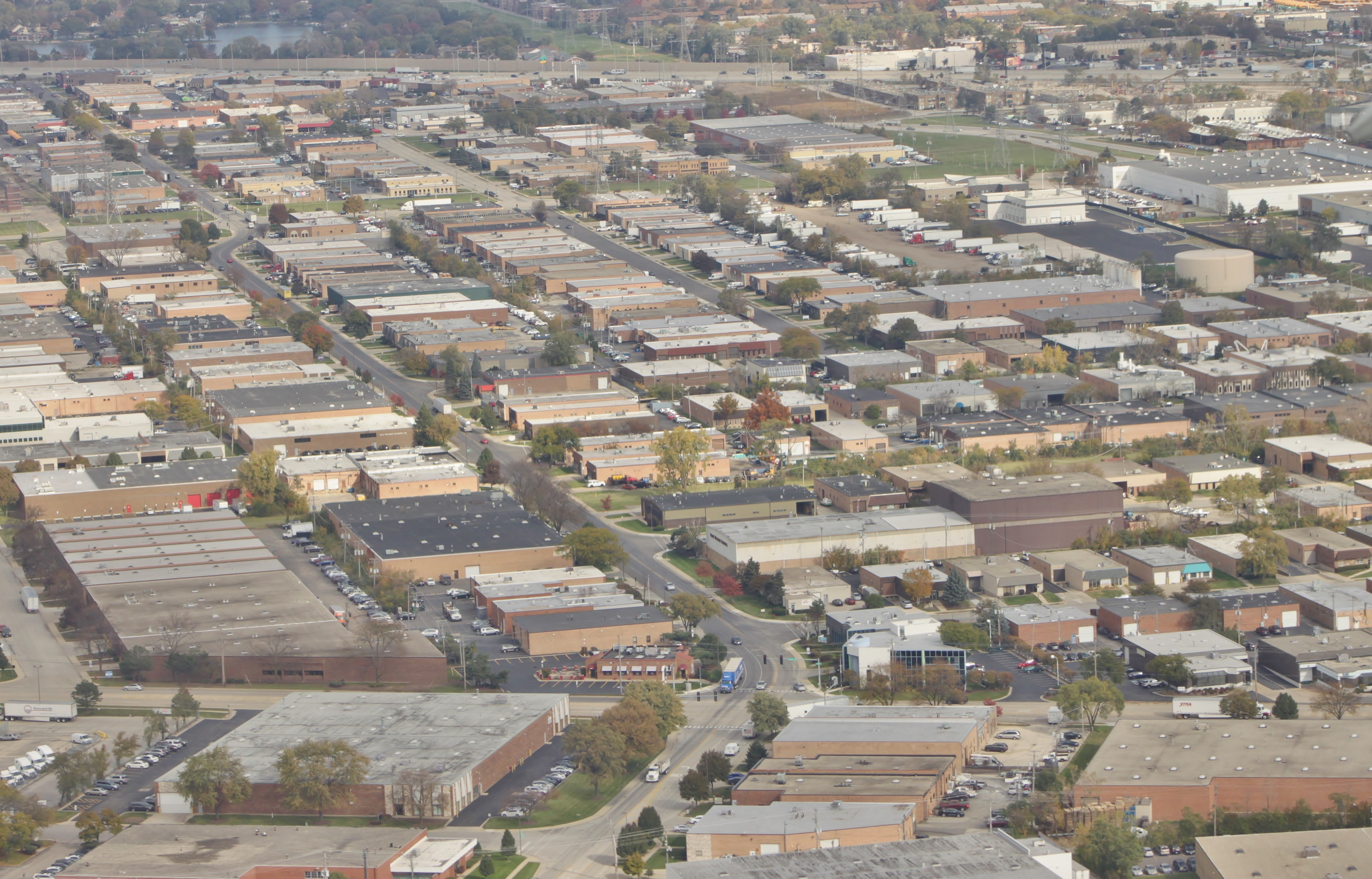 Aerial view of the Elk Grove Village industrial area