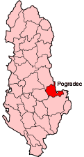 Map showing Pogradec within Albania